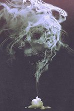 Skull Shaped Smoke Comes Out From Burnt Candle,horror Concept,illustration Painting