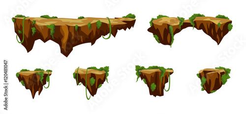 Fotografía  Funny cartoon stones, road elements for game design, vector assets