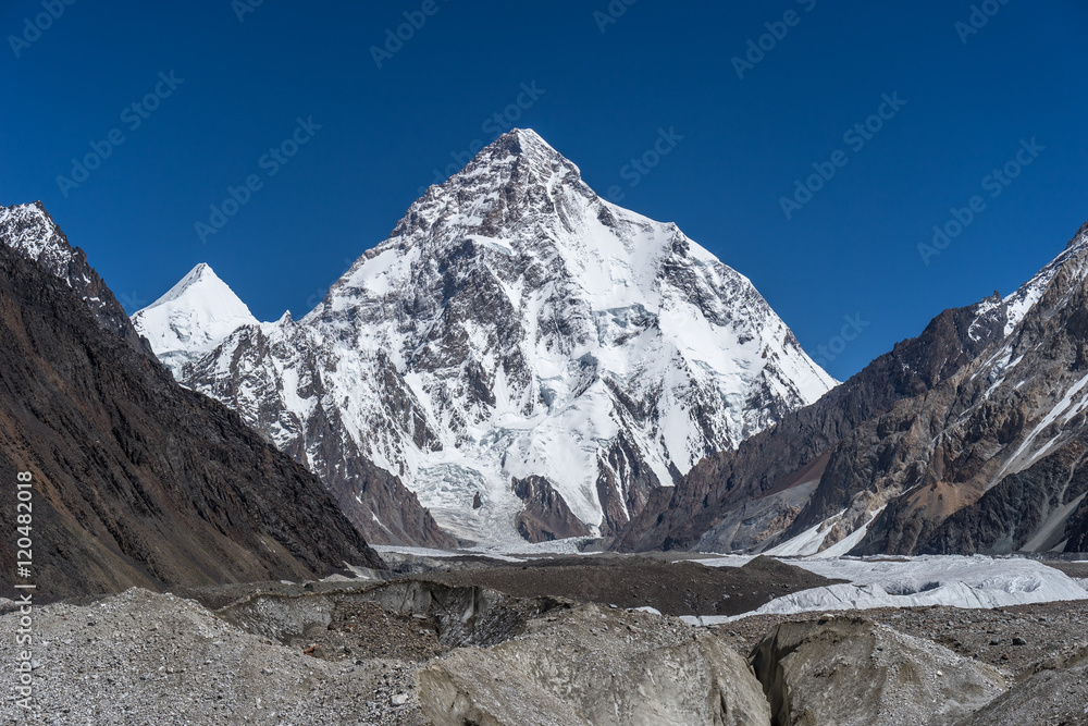 Fototapety, obrazy: K2 mountain and Angel peak, Concordia camp