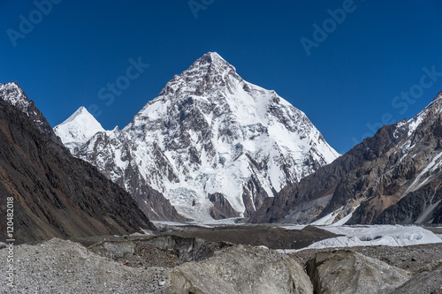 Fototapeta K2 mountain and Angel peak, Concordia camp obraz