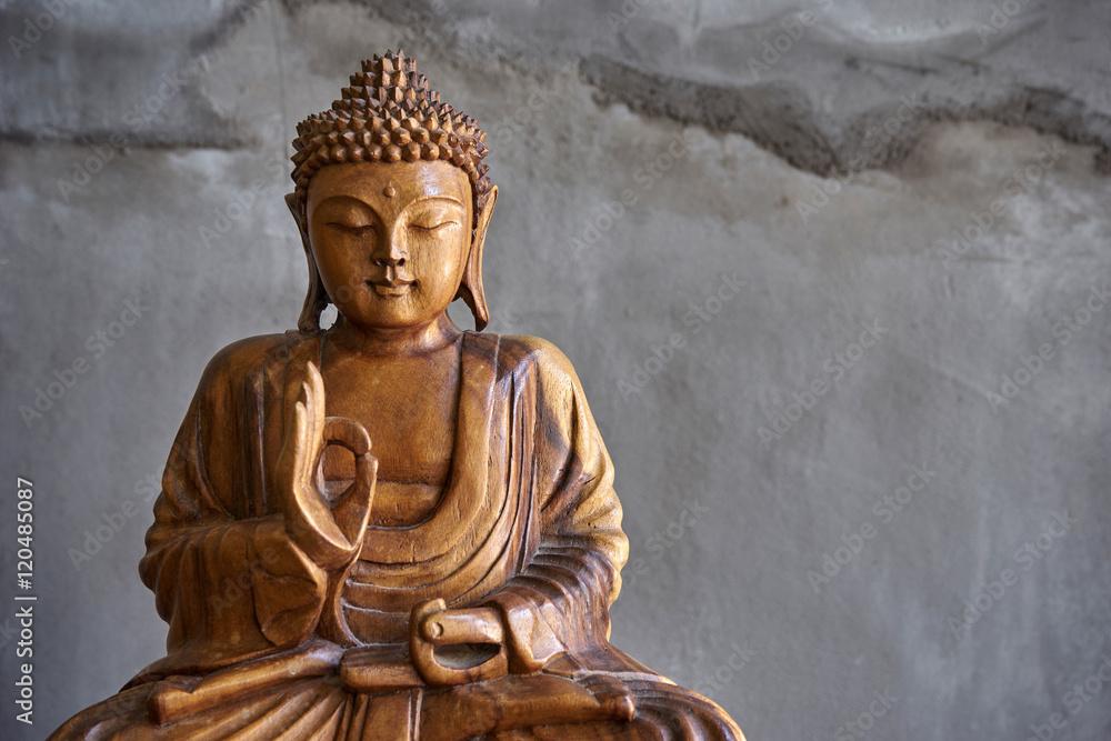 photo sur plexiglas wooden buddha statue nikkel. Black Bedroom Furniture Sets. Home Design Ideas