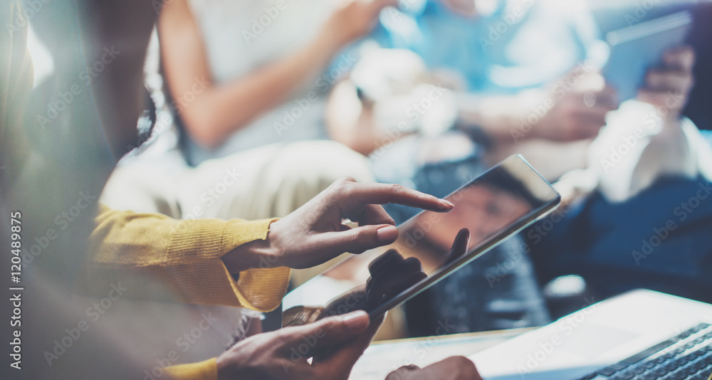 Fototapety, obrazy: Closeup Young Woman Using Modern Tablet Hand.Hipster Making Great Business Idea.Coworker People Professional Gathered Together Decision Corporate Work.Startup Creative Presentation Concept Blurred