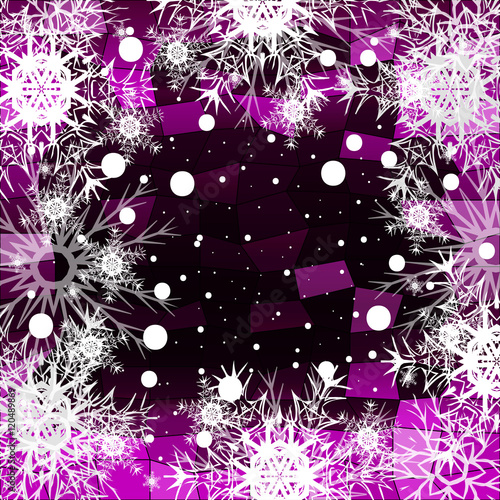 Papiers peints Visage de femme Frame of Christmas snowflakes on a purple background with a geometrical pattern. vector illustration.