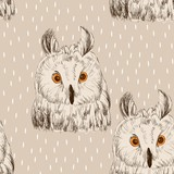 Sketch of owl on a white background. Seamless pattern - 120491698