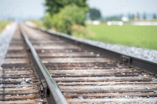 Poster Voies ferrées railroad tracks close up detail view in usa