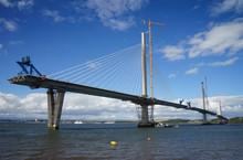 A View Of The New Queensferry Crossing Bridge Under Construction, Seen From Port Edgar (Edinburgh, Scotland).