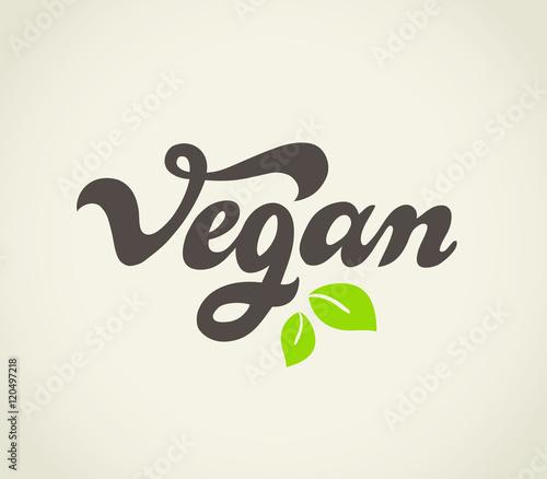 Fotografie, Obraz  Vegan - handwritten lettering for restaurant, cafe menu.