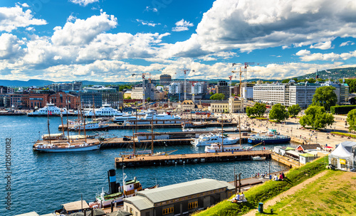 Oslo harbour with boats and yachts near the City Hall Square