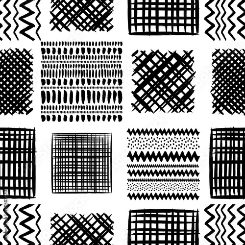 Fotografie, Obraz  Abstract grunge squares vector seamless pattern. Tribal texture