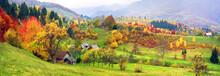 Mountain Village In Autumn