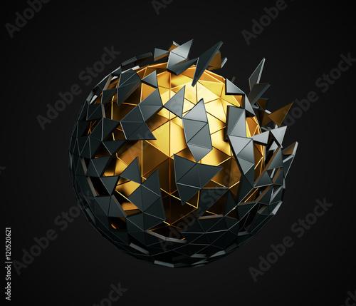 abstrakcyjna-okragla-struktura-ulozona-z-czarnych-i-zlotych-trojkatow