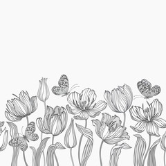 Fototapetaseamless floral border with tulips and butterflies