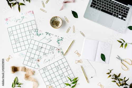 Calendar Planner For Laptop : Wedding planner schedule calendar painted with watercolor