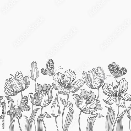 bez szwu kwiatowy granicy z tulipanów i motyli