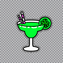 Margarita Goblet With A Slice Of Lime And Straws Vector Sticker