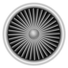 Plane Turbine Front View Isolated On White Background Vector Ill