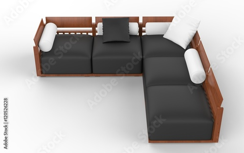 Groovy Corner Sofa With Wooden Headrests Black Seats And White Machost Co Dining Chair Design Ideas Machostcouk