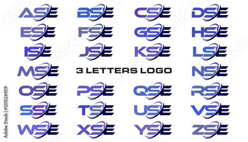 Photo 3 letters modern generic swoosh logo ASE, BSE, CSE, DSE, ESE, FSE, GSE, HSE, ISE