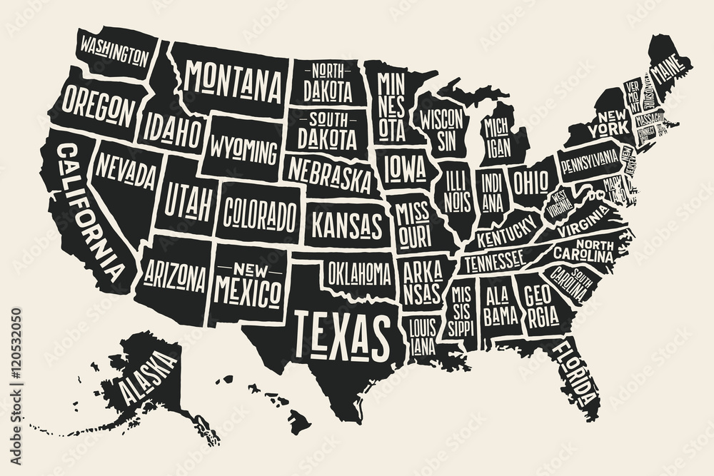 Fototapety, obrazy: Poster map of United States of America with state names. Black and white print map of USA for t-shirt, poster or geographic themes. Hand-drawn black map with states. Vector Illustration