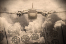 'Double Exposure Vintage Grunge Style' Image Of Vintage Aircraft And Clouds. Use As Background Image.