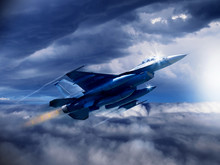 An Illustration Of A Modern 4th Generation US Fighter Jet As Soars Through The Clouds With Empty Weapons Pylons. (Computer Art, Oil Style Illustration)