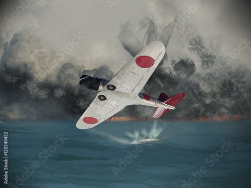 Photo  Illustraion of a Japanese torped of bomber skimming acorss the waters of Pearl Harbor in 1941