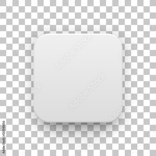 Obraz White abstract app icon, blank button template with realistic shadow and transparent background for design concepts, web sites, user interfaces, UI, applications, apps, mock-ups. Vector illustration. - fototapety do salonu