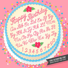 Gradient Free Vector Cake Decorator Icing Font With Birthday Cake