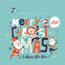 Christmas Card With Santa Claus & Friends