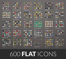 Large Icons Set, 600 Vector Pi...