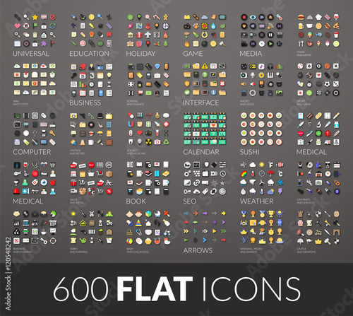 Fotografía Large icons set, 600 vector pictogram of flat colored with shadows