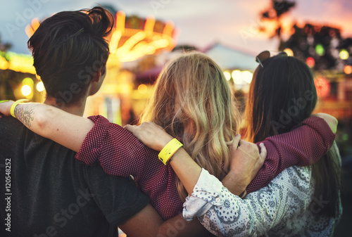 Amusement Park Friends Enjoyment Lifestyle Concept Fototapet
