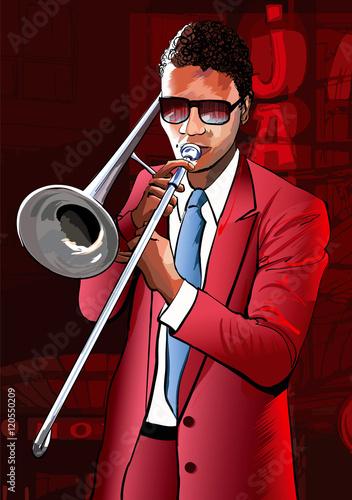 Tuinposter Art Studio Jazz trombone player