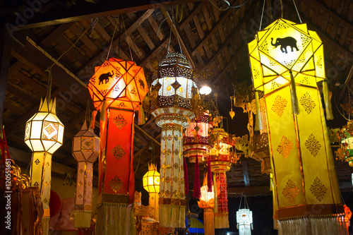 Fotografie, Obraz  Lanna paper craft lantern or Yi peng in Loy Krathong Festival, Lights in Lampang Thailand