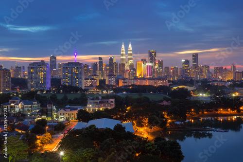 Photo Stands Kuala Lumpur Kuala Lumpur city skyline in sunset