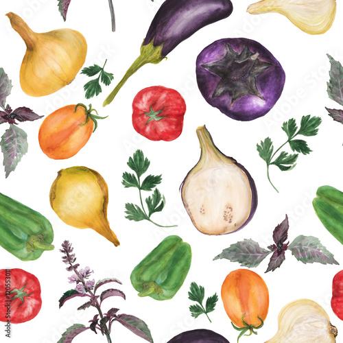 recznie-rysowane-akwarela-bezszwowe-wzor-z-produktow-ekologicznych-pomidor-pieprz-baklazan-cebula-pietruszka-bazylia-tlo-kuchnia