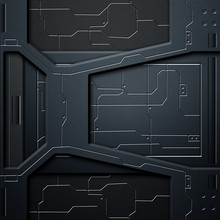 Scifi Wall. Carbon Fiber Wall And Circuits. Metal Background