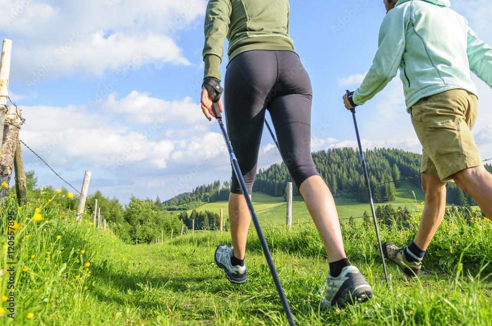 Fototapety, obrazy: Zwei Walker beim Ausdauertraining