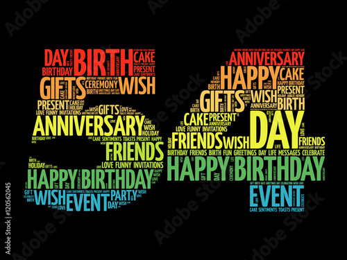 Poster  Happy 54th birthday word cloud collage concept