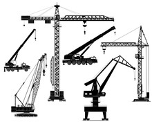 Building Cranes Set, Silhouettes. Vector Illustration