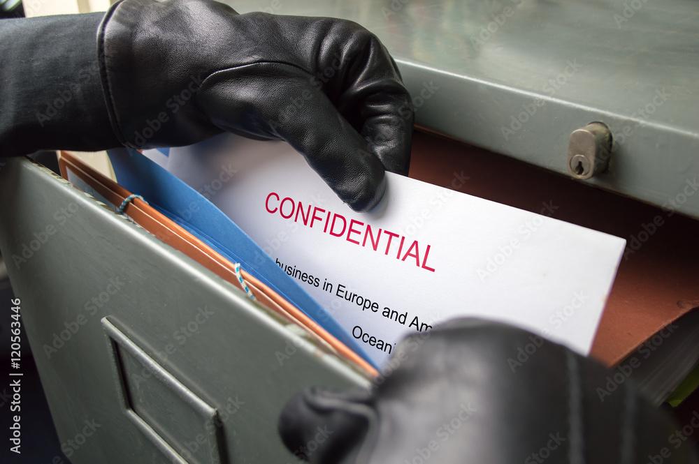 Fototapeta stealing secrets documents