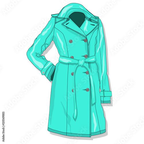 Fotografie, Tablou  Female coat. Clothes. Vector.