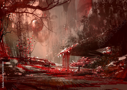 Poster Bruin bloodyland,horror landscape, illustration,digital paintng