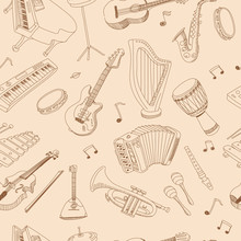 Hand Drawn Music Seamless Background Pattern Ith Guitar, Keyboard, Synthesizer, Drum Pedal, Guitar Bass, Vector Illustration