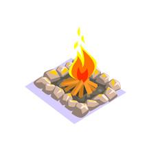 Bonfire With Rock Border Jungle Village Landscape Element