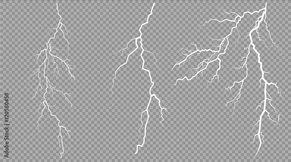 Fototapety, obrazy: vector electrical and lightning on transparent background