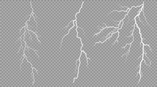 Vector Electrical And Lightning On Transparent Background