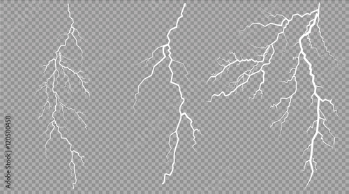Fotomural vector electrical and lightning on transparent background