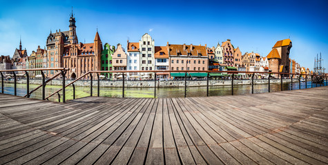Panorama of Gdansk old town and Motlawa river in Poland. View from embankment