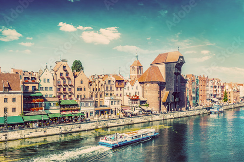 Photo  Gdansk old town and famous crane, Polish Zuraw